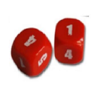 Coppia di dadi numerati da 1 a 6 (dado rosso)