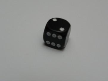 Dado Opaco Nero/Bianco - Mini D6 con puntini