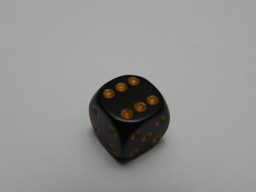 Dado Opaco Nero/Oro - Mini D6 con puntini