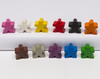 Meeple people 16x16x10mm (25 pezzi) - Grigi