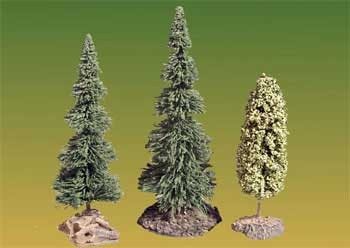Alberi su basi decorate (3: due conifere e un deciduo)