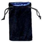 Sacchetto Grande Velluto Nero - Seta Blu