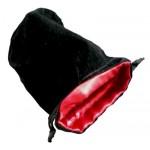 Sacchetto Medio Velluto Nero - Seta Rossa