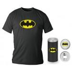 T-Shirt Dc Comics Batman Logo Black Boy Deluxe (Taglia Extra Extra Large - XXL)